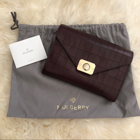 a1954ccdbd72 Mulberry Delphie Clutch oxblood croc embossed NWT